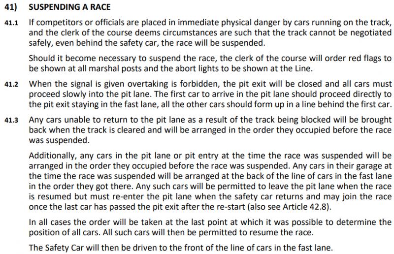 Ripartenza - Art. 41 (.1-3) del Regolamento Sportivo della Formula 1, edizione 2020. © FIA
